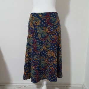 LuLaRoe Blue Paisley Azure A-Line Skirt Medium